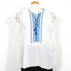 Cotton Gauze Embroidered Neck Sleeveless Top L
